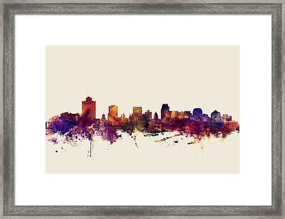 Salt Lake City Skyline Framed Print by Michael Tompsett