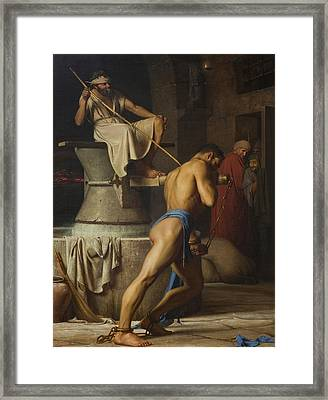 Samson And The Philistines Framed Print by Carl Bloch