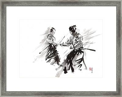 Samurai Fight Framed Print by Mariusz Szmerdt