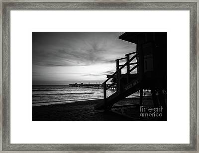 San Clemente Lifeguard Tower One Black And White Photo Framed Print