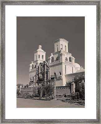 San Xavier Monochrome Framed Print by Gordon Beck