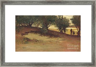 Sand Bank With Willows, Magnolia Framed Print