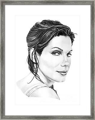 Sandra Bullock Framed Print by Murphy Elliott