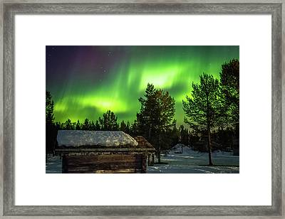 Sapmi Hut Under The Northern Lights Karasjok Norway Framed Print