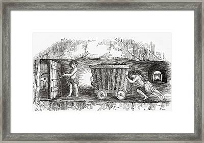Scene Inside An English Coal Mine Framed Print