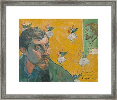 Self Portrait With Portrait Of Bernard Framed Print by Paul Gauguin