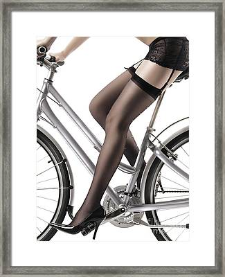 Sexy Woman Riding A Bike Framed Print