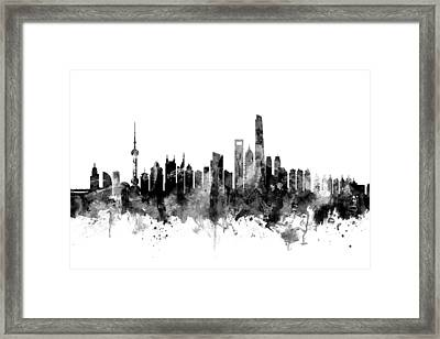Shanghai China Skyline Framed Print by Michael Tompsett