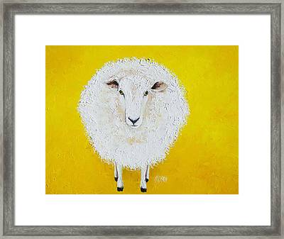 Sheep Painting On Yellow Background Framed Print by Jan Matson