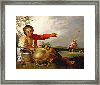 Shepherd Boy Pointing At Tobias And The Angel Framed Print
