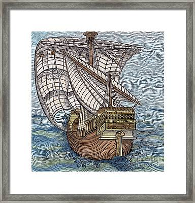 Ship From The Time Of Christopher Columbus Framed Print by English School