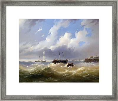 Ships On A Stormy Sea Framed Print