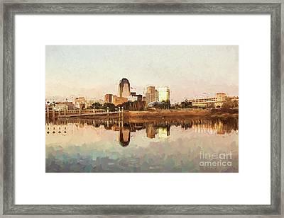 Shreveport Cityscape - Digital Painting Framed Print