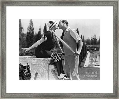 Silent Film Still: Kissing Framed Print by Granger