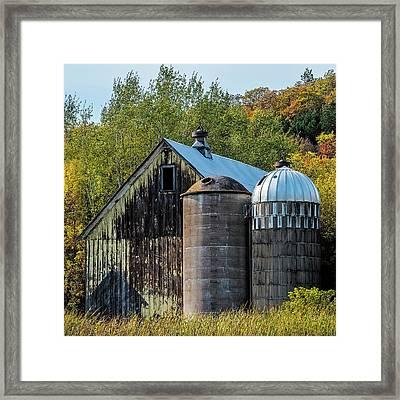 2 Silos And A Barn Framed Print