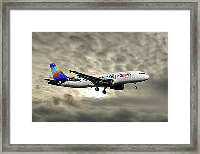Small Planet Airlines Airbus A320-214 Framed Print