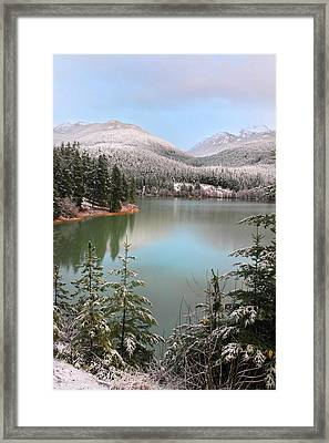 Snowy Green Lake Sunset Whistler B.c Canada Framed Print by Pierre Leclerc Photography