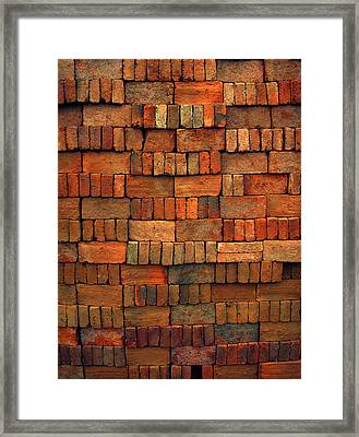 Sorted Red Bricks  Framed Print