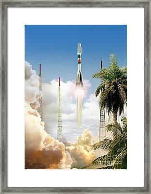 Soyuz-2 Rocket Launch, Artwork Framed Print by David Ducros
