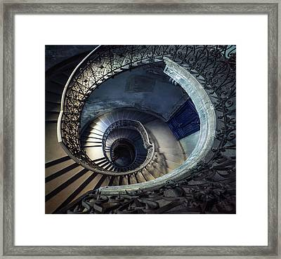 Framed Print featuring the photograph Spiral Staircase With Ornamented Handrail by Jaroslaw Blaminsky