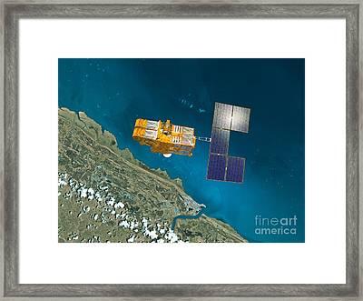 Spot 4 Satellite, Artwork Framed Print by David Ducros