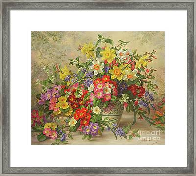 Spring Flowers And Poole Pottery Framed Print