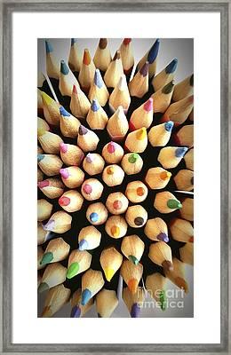 Stack Of Colored Pencils Framed Print by Bernard Jaubert