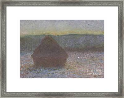 Stack Of Wheat, Thaw, Sunset Framed Print by Claude Monet