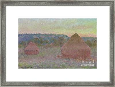 Stacks Of Wheat  End Of Day, Autumn Framed Print