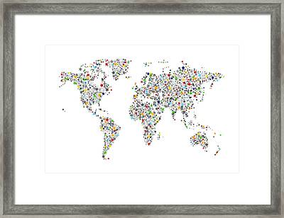 Stars Map Of The World Map Framed Print by Michael Tompsett