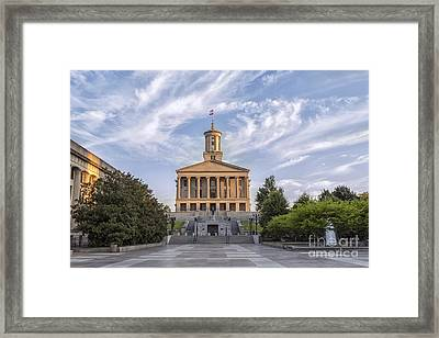 State Capital Building Of Nashville Tennessee At Sunrise Framed Print