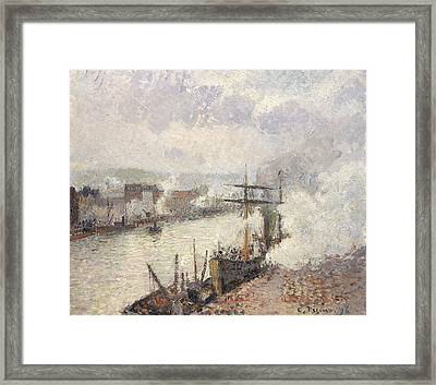 Steamboats In The Port Of Rouen Framed Print