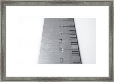 Steel Ruler Closeup Framed Print by Allan Swart