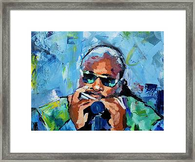 Framed Print featuring the painting Stevie Wonder by Richard Day