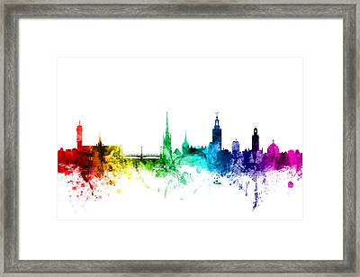 Stockholm Sweden Skyline Framed Print by Michael Tompsett