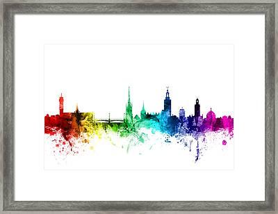 Stockholm Sweden Skyline Framed Print by Michael Tompsett