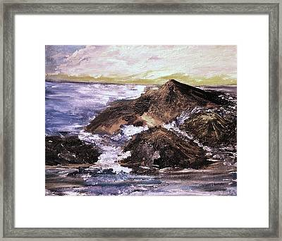 Framed Print featuring the painting Stones In The Ocean by Evelina Popilian