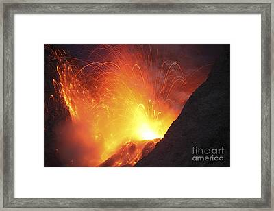 Strombolian Type Eruption Of Batu Tara Framed Print by Richard Roscoe