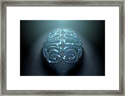 Stylized Artificial Intelligence Brain Framed Print