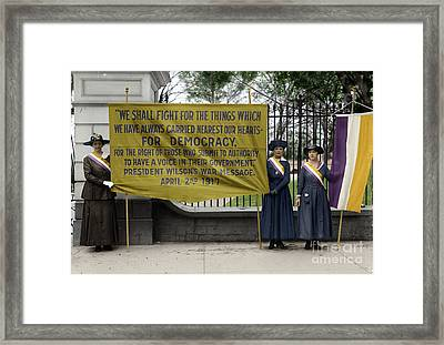 Framed Print featuring the photograph Suffragettes, 1917 by Granger