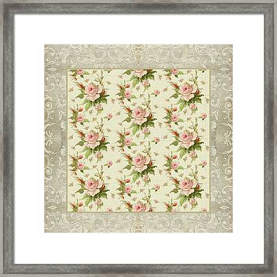 Summer At Cape May - Aged Modern Roses Pattern Framed Print by Audrey Jeanne Roberts
