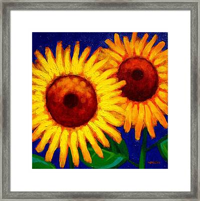 Sunflower Duet  Framed Print by John  Nolan