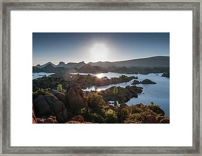 Sunrise At Watson Lake Framed Print