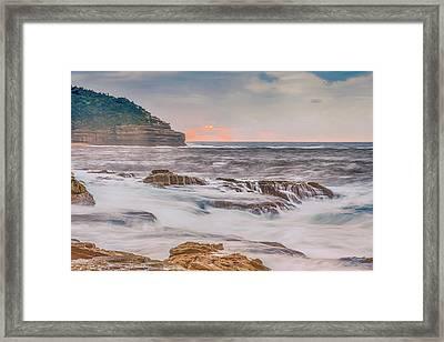Sunrise Seascape And Headland Framed Print