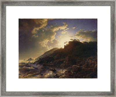 Sunset After A Storm On The Coast Of Sicily Framed Print