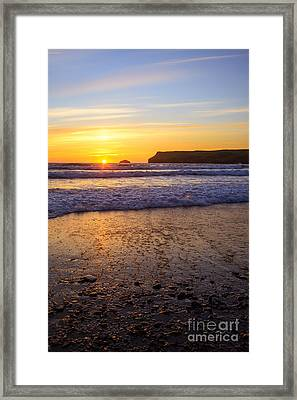 Sunset At Polzeath Framed Print by Amanda Elwell