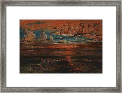 Sunset At Sea After A Storm Framed Print