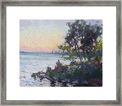 Sunset On Niagara River Framed Print