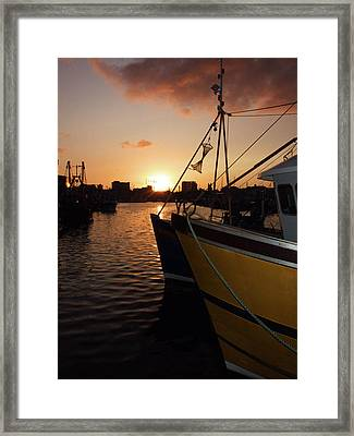 Sunset Over Sutton Harbour Plymouth Framed Print by Chris Day