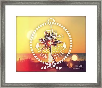 Sunset Palm Framed Print by Chris Andruskiewicz